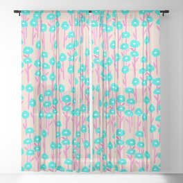 Inverted Poppies on Dusty Pink Sheer Curtain