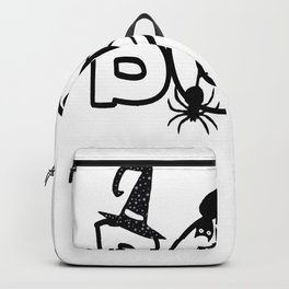 Halloween Boo with Witches Hat Black Cat Spider Web Backpack