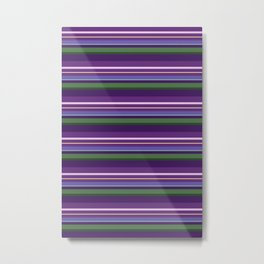 Lavender Bee Stripes Metal Print
