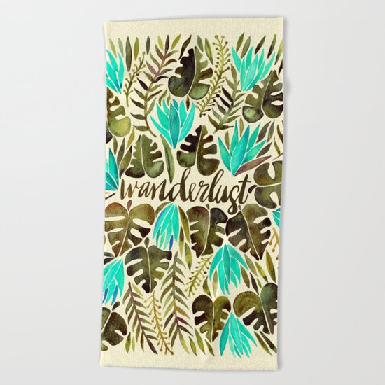 Tropical Wanderlust – Turquoise & Olive Beach Towel