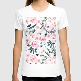 Floral Rose Watercolor Flower Pattern T-shirt