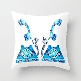 Vintage Rotary Phone – Blue Raspberry Throw Pillow