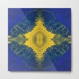 Agate Queen - Blue Yellow Botanical Moss Marble Metal Print