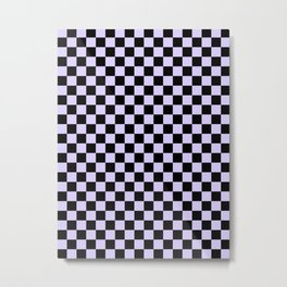 Black and Pale Lavender Violet Checkerboard Metal Print