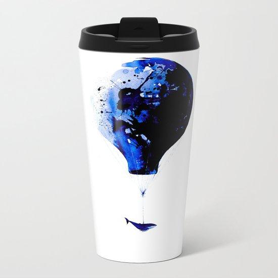 Blue journey #whale #balloon #travel #blue Metal Travel Mug