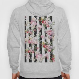 Bold pink watercolor roses floral black white stripes Hoody