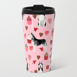 Husky Siberian Huskies dog breed valentines day love pattern print by pet friendly for dog person Travel Mug