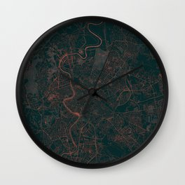 Rome Map Red Wall Clock