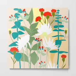 Illustration, modern flowers, bold colors,red, turquoise, white,green. Metal Print