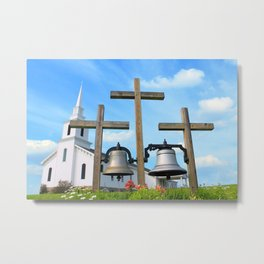 Historic Church and 3 crosses Metal Print