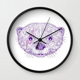 Otter Head Lightning Bolt Drawing Wall Clock