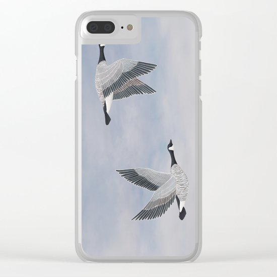 Canada geese and blue sky Clear iPhone Case
