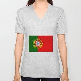 Extruded flag of Portugal Unisex V-Neck