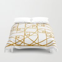 fibonacci Duvet Covers featuring Golden Ropes by Melek Design