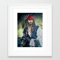 jack sparrow Framed Art Prints featuring Captain Jack Sparrow by zlicka