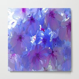 Blue Cherry Blossoms Metal Print