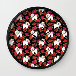 Bichon Frise dogs red rose floral for dog lovers Wall Clock