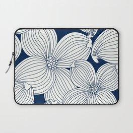 Dogwood Big Linear Floral: Navy Ivory Laptop Sleeve