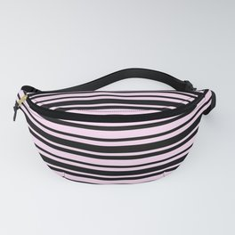Pink Lace Pink and Black Horizontal Var Size Stripes Fanny Pack