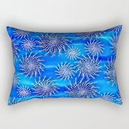 Abstract Spinning Stars Mixed Blue Pattern - mix size circles in move, silver on azure sea theme Rectangular Pillow
