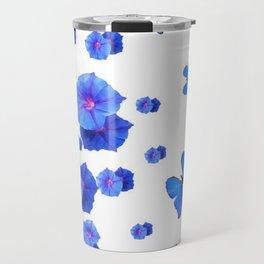 BABY BLUE ART BLUE BUTTERFLIES & MORNING GLORIES Travel Mug