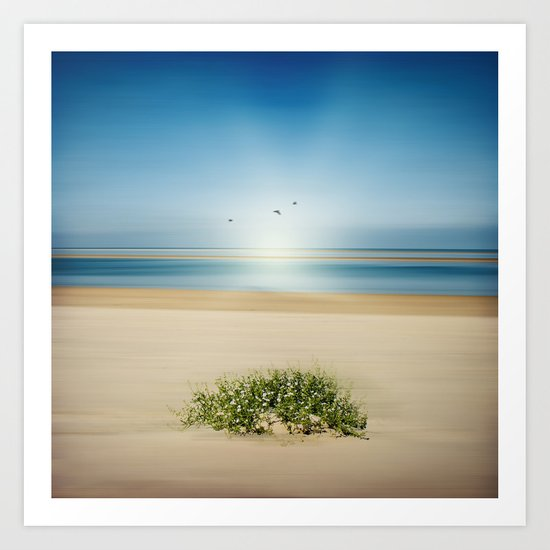 beach abstraction with tiny flowers Art Print