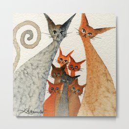 Texarcana Whimsical Cats Metal Print