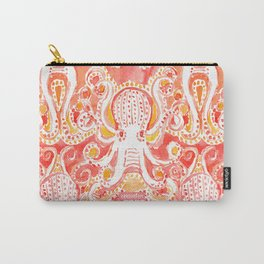 OCTOPUSSY Orange Watercolor Octopus Carry-All Pouch