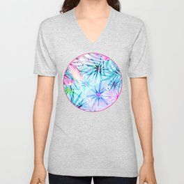 Flashy Colorful Tropical Flowers Design Unisex V-Neck