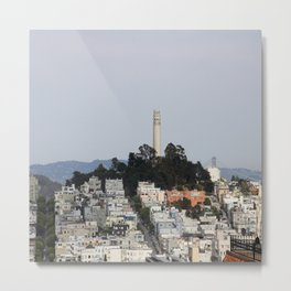 Streets Of San Francisco With Coit Tower Metal Print