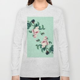 Roses Mint Green + Pink Long Sleeve T-shirt