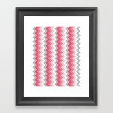 Chevron Pink & Grey Framed Art Print