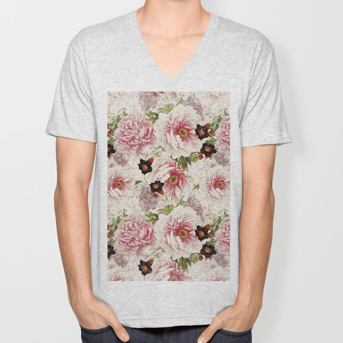 Small Vintage Peony and Ipomea Pattern - Smelling Dreams Unisex V-Neck