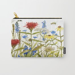 Garden Flower Bees Contemporary Illustration Painting Carry-All Pouch