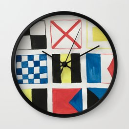 Nautical flags Wall Clock