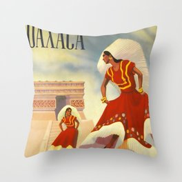 Oaxaca Travel Poster Throw Pillow