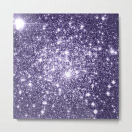 Dark Grape Purple Sparkle Stars Metal Print