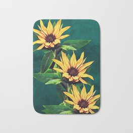 Watercolor sunflowers Bath Mat