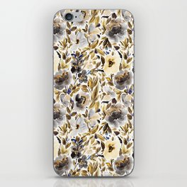 Gold and Grey Fall Feels Floral iPhone Skin