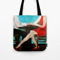 dress Tote Bags featuring Red Dress by James Peart