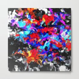 psychedelic splash painting abstract texture blue red pink black Metal Print