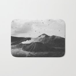 Birds Over Mount Bromo, Indonesia Black and White Bath Mat