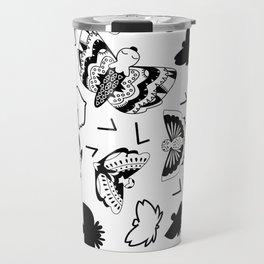 Black and White Butterflies Travel Mug
