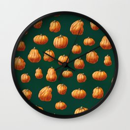 Illustrated Pumpkin Pattern Wall Clock