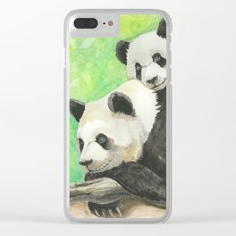 Mama and Baby Panda Clear iPhone Case