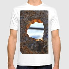 stone with hole Mens Fitted Tee White SMALL