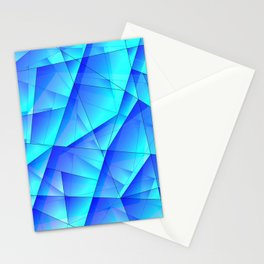 Abstract celestial pattern of blue and luminous plates of triangles and irregularly shaped lines. Stationery Cards