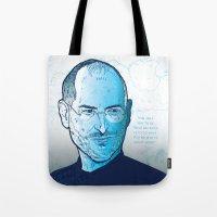 steve jobs Tote Bags featuring Steve Jobs by BTillustration