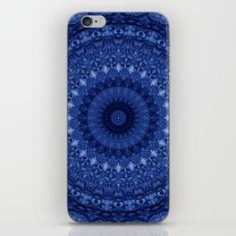 Mandala in deep blue tones iPhone Skin