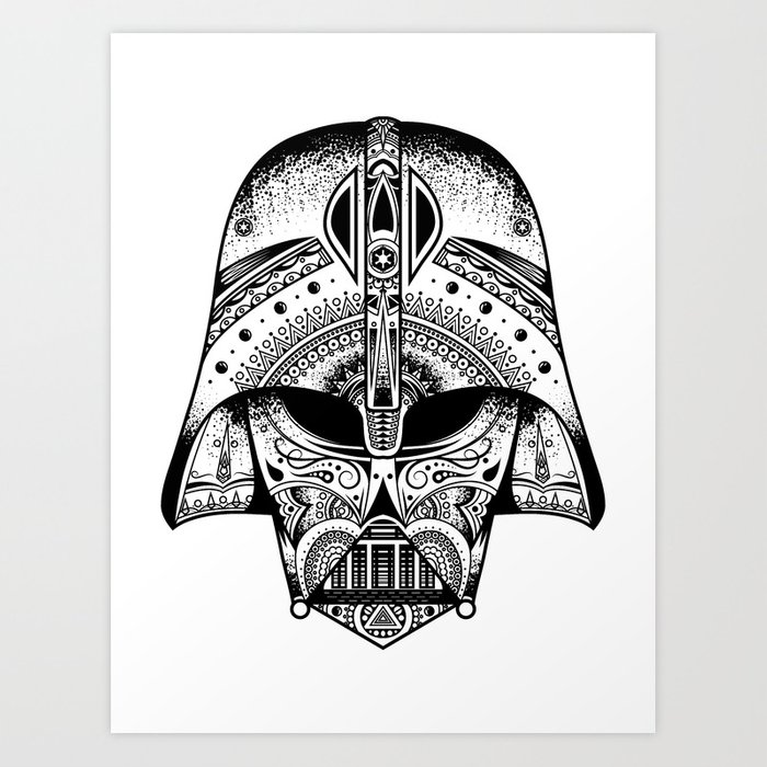 Mandala Darth Vader - Black. The big baddy from StarWars™. Art Print